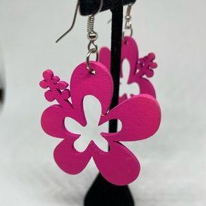 Hawaii flower earrings hibiscus fuchsia hot pink
